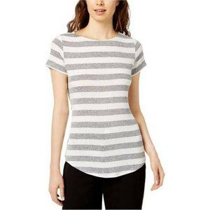 bar III Short sleeve Striped Basic T-Shirt knit XS